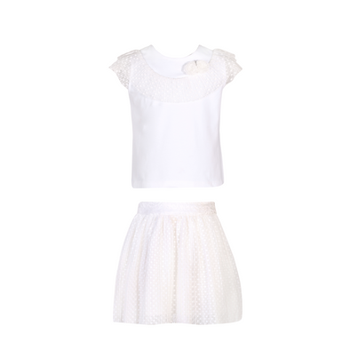 Girl T-Shirt Knit and Skirt Woven