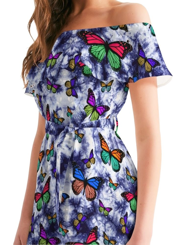 Butterfly Skies Ruffled Off-Shoulder Dress