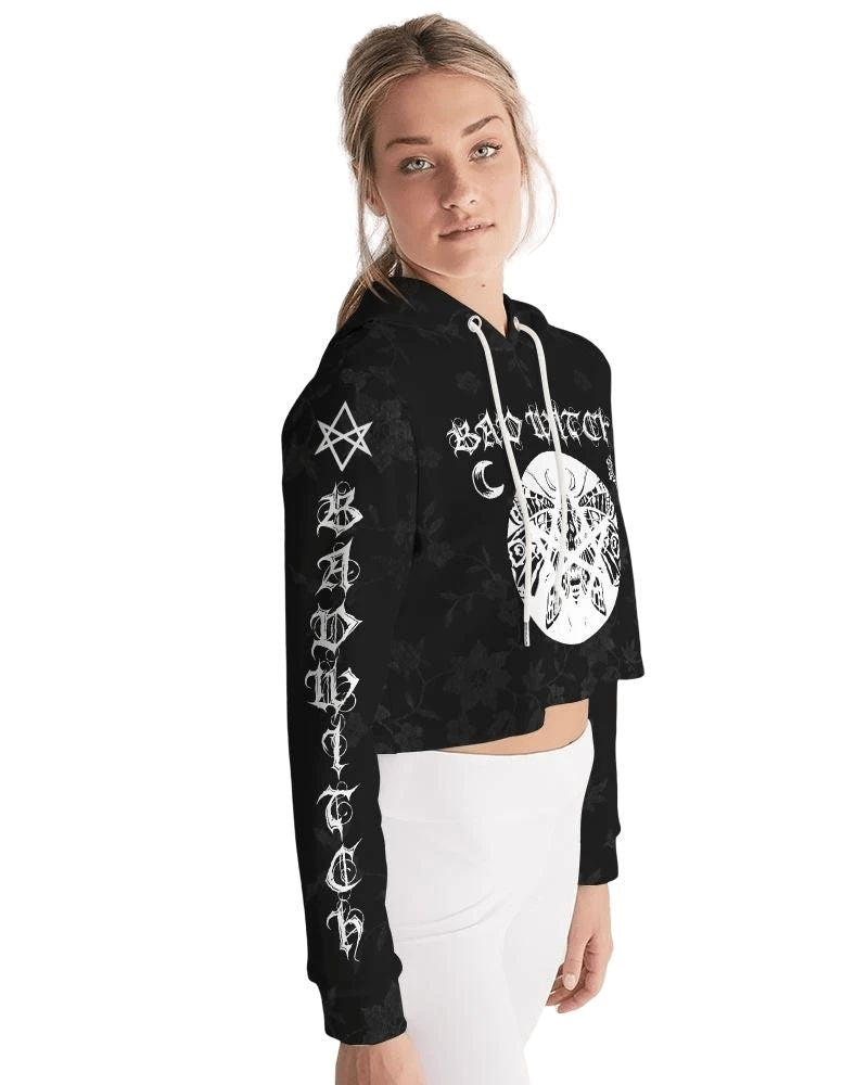 Bad Witch Black Drawstring Cropped Hoodie