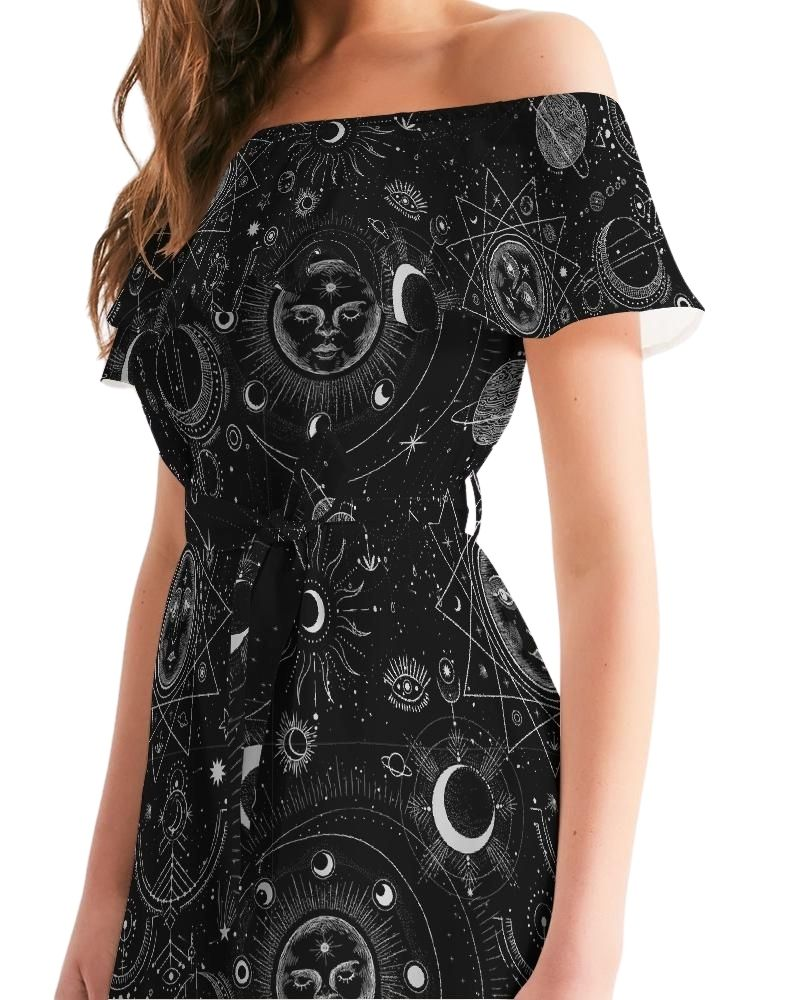 Celestial Nights Ruffled Off-Shoulder Dress