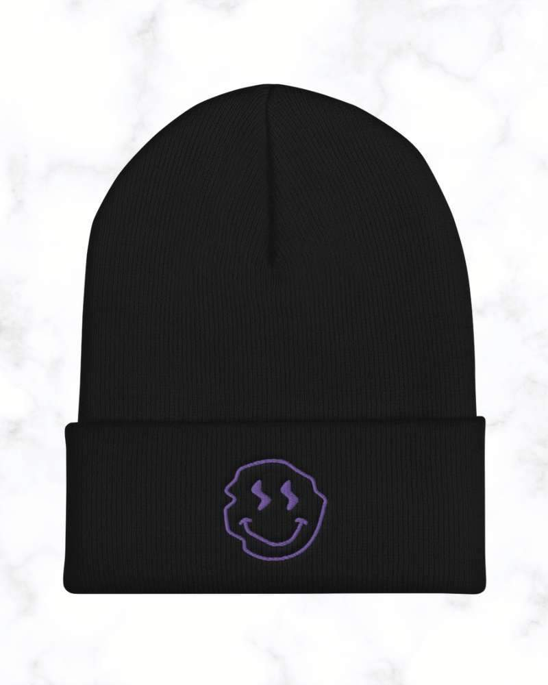 Accessories Neon Underground Apparel Black Neon Underground Smiley Cuffed Beanie Grunge Nostalgic Nu-Goth Tumblr Aesthetic Alternative Clothing Pastel Goth Pastel Goth Soft Grunge 90s Grunge