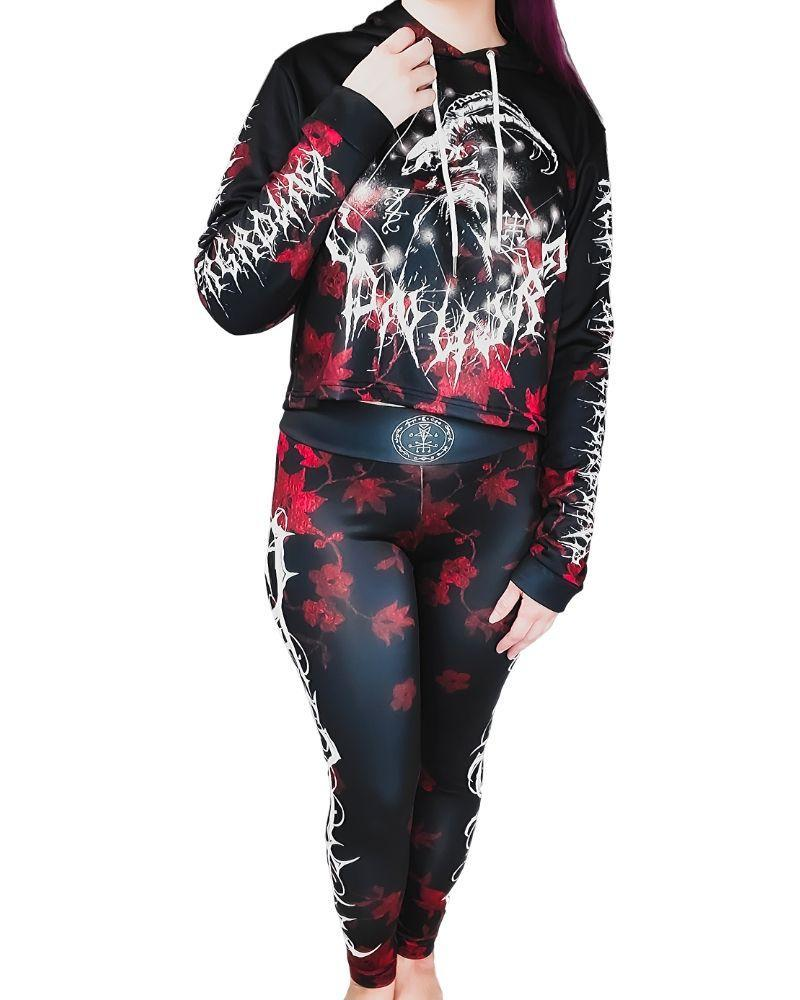 Bottoms Neon Underground Apparel Conjure Magick Blood Red Yoga Pant Leggings Grunge Nostalgic Nu-Goth Tumblr Aesthetic Alternative Clothing Pastel Goth Pastel Goth Soft Grunge 90s Grunge