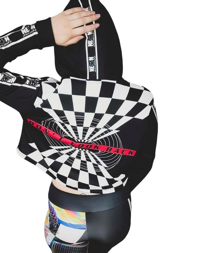Tops Neon Underground Apparel Aesthetic Dimensions Drawstring Cropped Hoodie Grunge Nostalgic Nu-Goth Tumblr Aesthetic Alternative Clothing Pastel Goth Pastel Goth Soft Grunge 90s Grunge