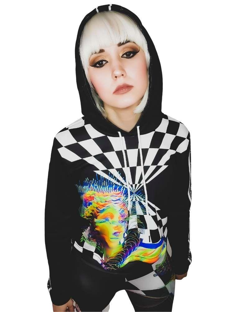 Tops Neon Underground Apparel XS Aesthetic Dimensions Drawstring Cropped Hoodie Grunge Nostalgic Nu-Goth Tumblr Aesthetic Alternative Clothing Pastel Goth Pastel Goth Soft Grunge 90s Grunge