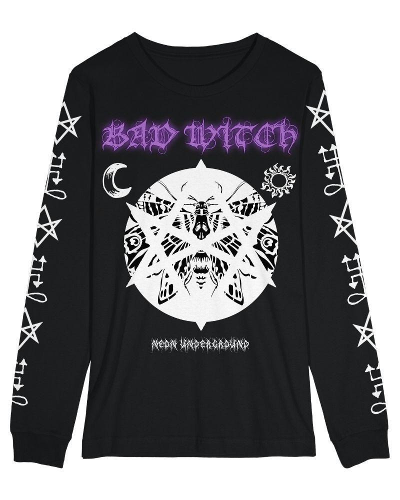 Tops Neon Underground Apparel XS Bad Witch Long Sleeve Graphic Tee Grunge Nostalgic Nu-Goth Tumblr Aesthetic Alternative Clothing Pastel Goth Pastel Goth Soft Grunge 90s Grunge