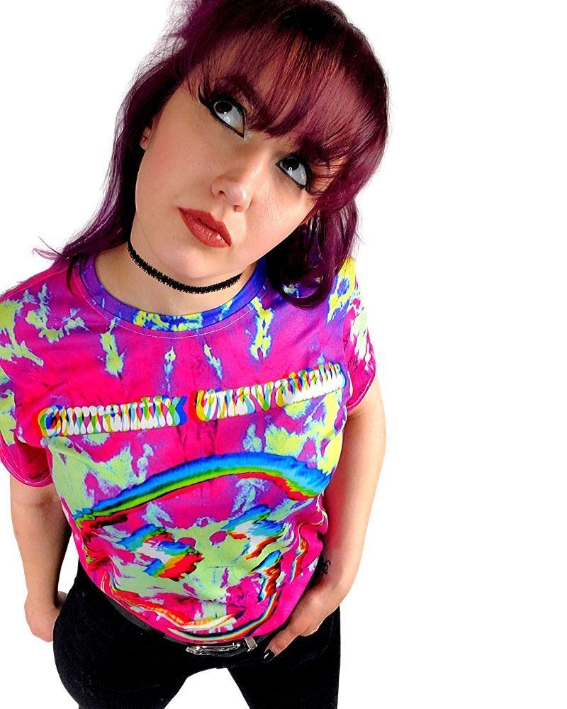 Tops Neon Underground Apparel Gone On A Trip Tie Dye Graphic Tee Grunge Nostalgic Nu-Goth Tumblr Aesthetic Alternative Clothing Pastel Goth Pastel Goth Soft Grunge 90s Grunge