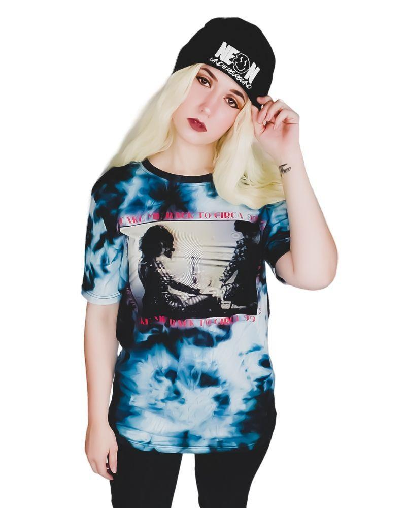 Tops Neon Underground Apparel Take Me Back to Circa '99 Acid Wash Graphic Tee Grunge Nostalgic Nu-Goth Tumblr Aesthetic Alternative Clothing Pastel Goth Pastel Goth Soft Grunge 90s Grunge