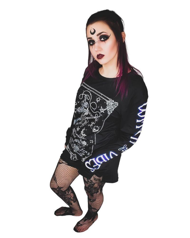Tops Neon Underground Apparel Witch Vibes Long Sleeve Graphic Tee Grunge Nostalgic Nu-Goth Tumblr Aesthetic Alternative Clothing Pastel Goth Pastel Goth Soft Grunge 90s Grunge