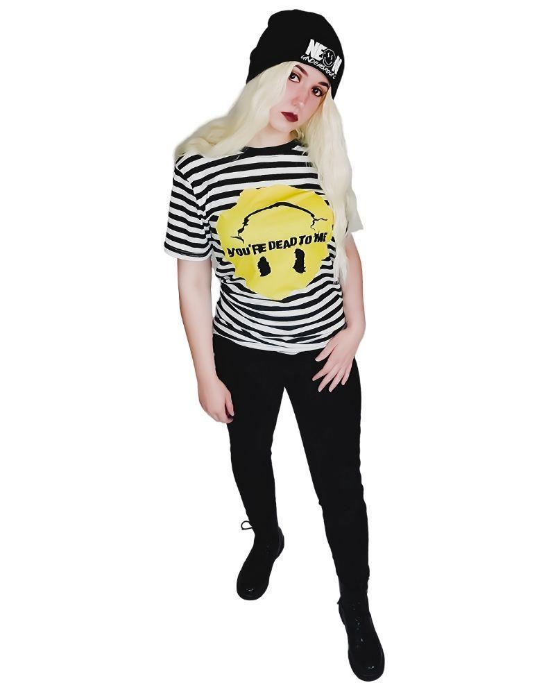 Tops Neon Underground Apparel You're Dead to Me Striped Graphic Tee Grunge Nostalgic Nu-Goth Tumblr Aesthetic Alternative Clothing Pastel Goth Pastel Goth Soft Grunge 90s Grunge