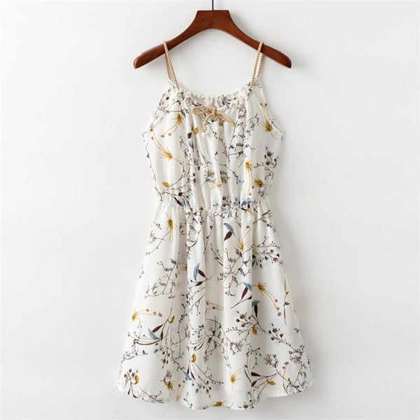 Floral Dress with String Straps