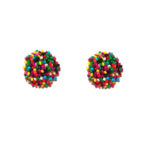 BEADED STUD IN MULTI COLOUR