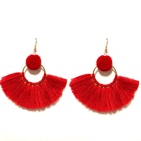 LILA POM POM AND TASSEL IN RED