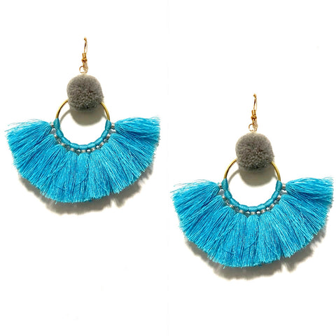 LILA POM POM AND TASSEL IN BLUE