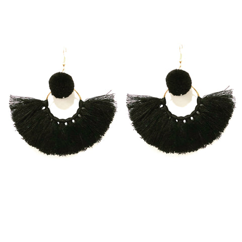 LILA POM POM AND TASSEL IN BLACK