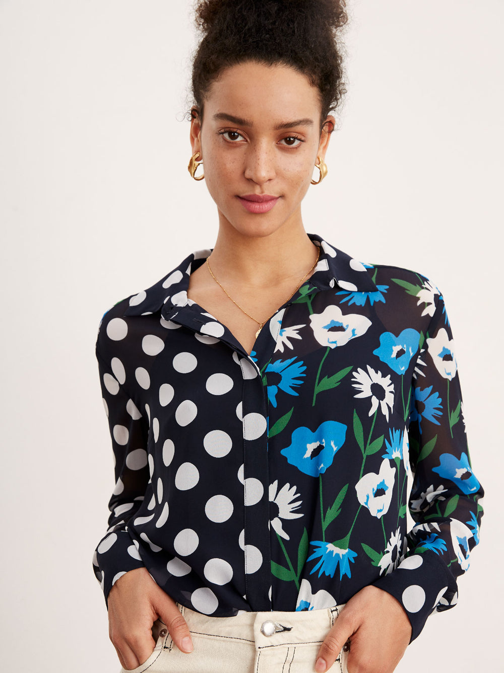 Adela Spot Print Long Sleeve Blouse by KITRI Studio