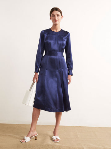 Adeline Navy Satin Vintage Pleat Dress by KITRI Studio