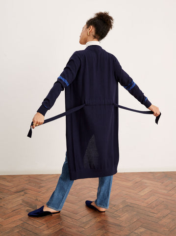 Alberta Navy Merino Striped Longline Cardigan by KITRI Studio