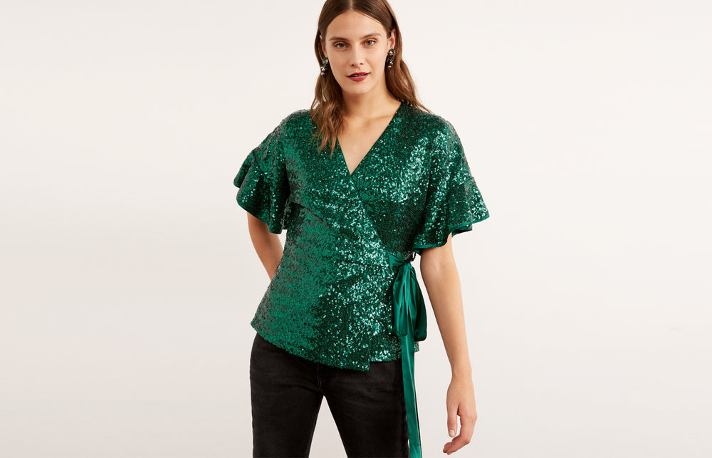 Alexis Green Sequin Frill Wrap Top by KITRI Studio
