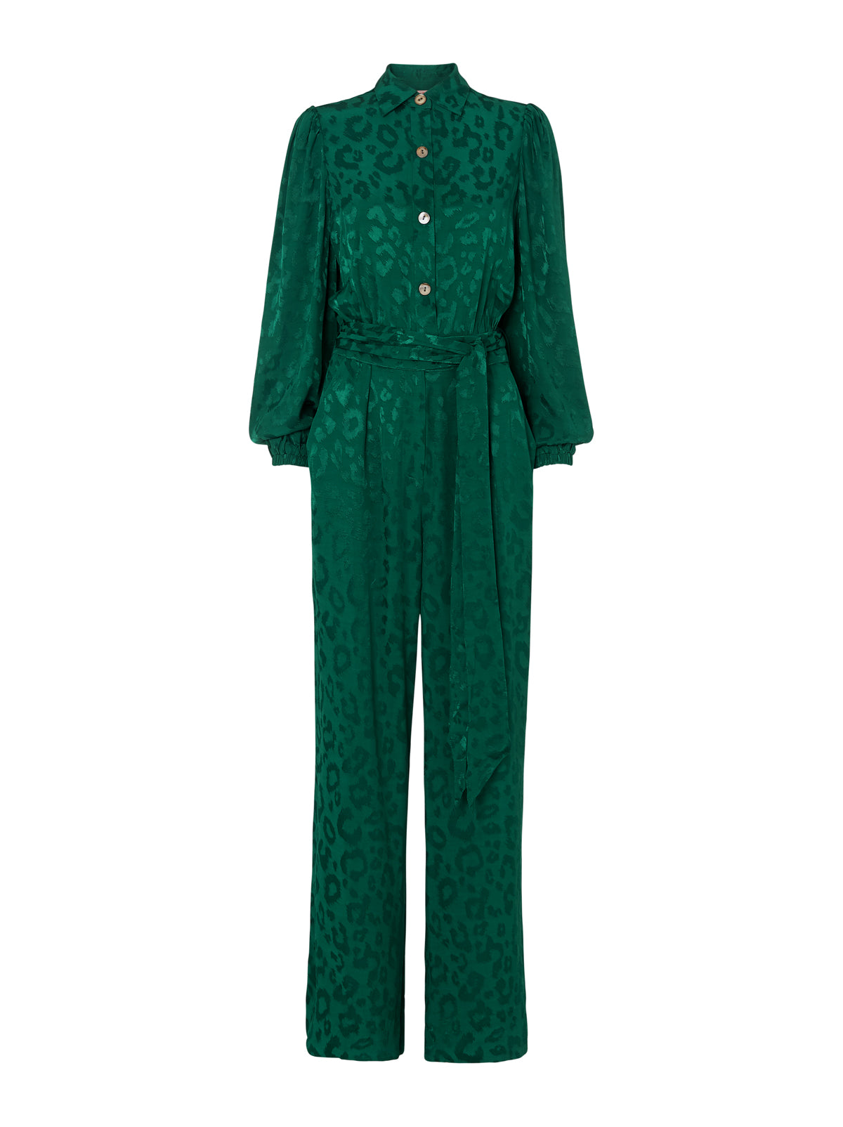 Allegra Animal Print Volume Sleeve Jumpsuit by KITRI Studio