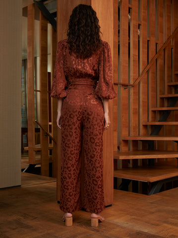Allegra Brown Animal Jacquard Jumpsuit