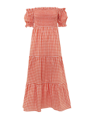 Alma Orange Cotton Gingham Bardot Dress by KITRI Studio