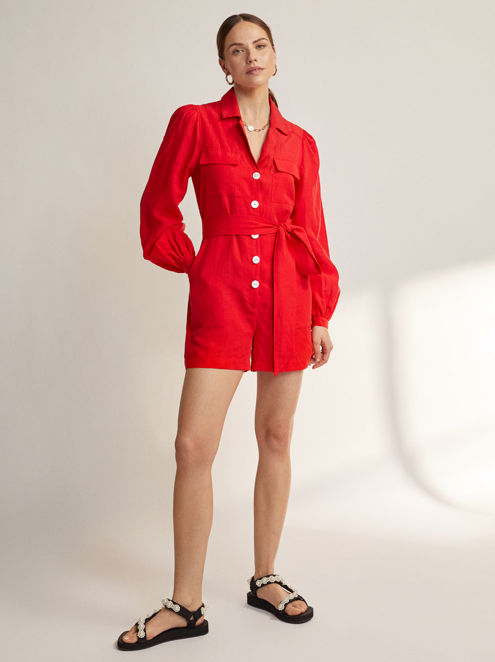 Amandine Red Linen Playsuit by KITRI Studio