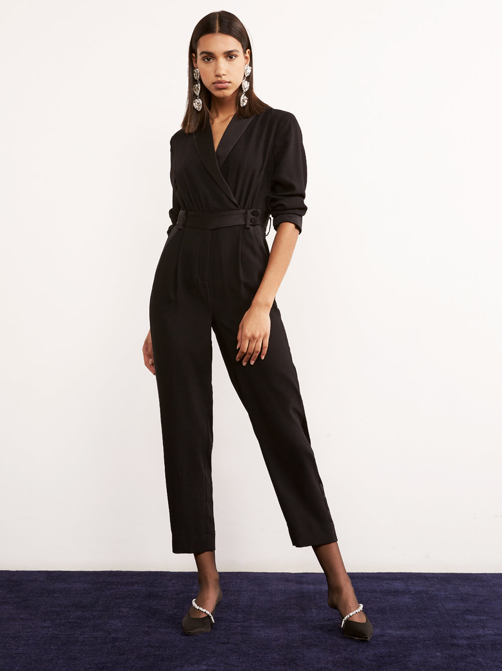 Amandine Black Tailored Tuxedo Jumpsuit by KITRI Studio