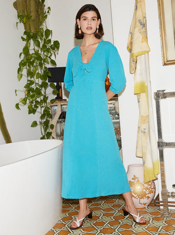 Amaris Aqua Blue Tie Front Jersey Dress by KITRI Studio