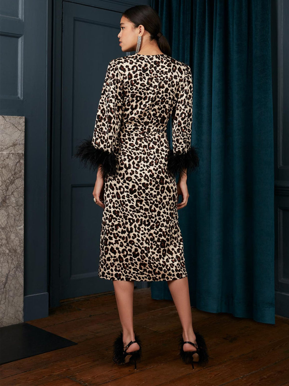 Aurelie Leopard Print Feather Wrap Dress by KITRI Studio