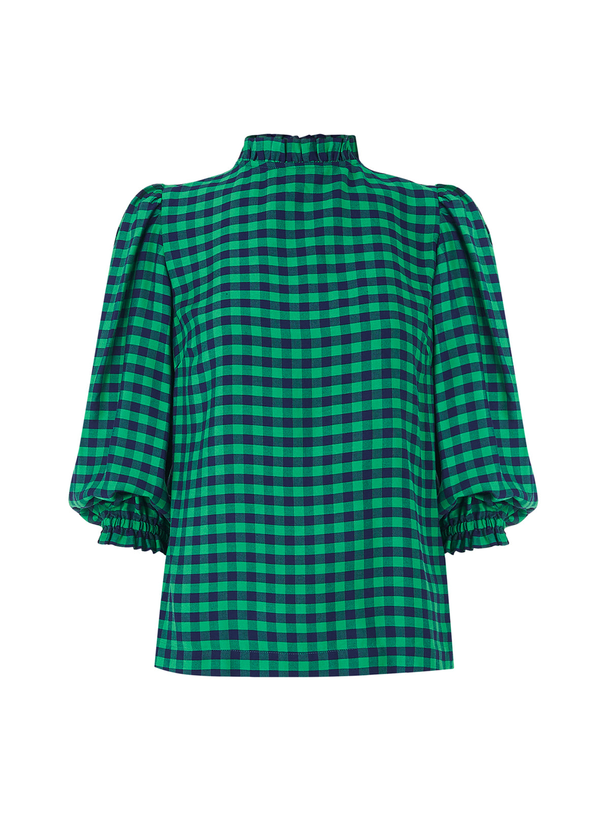 Angela Green Check Frill Collar Top by KITRI Studio