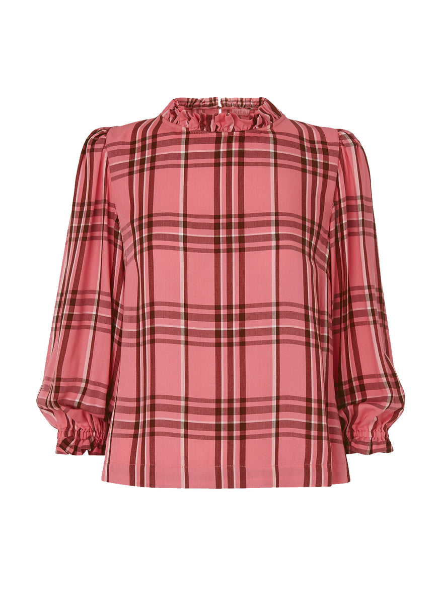 Angela Pink Check Frill Collar Top by KITRI Studio