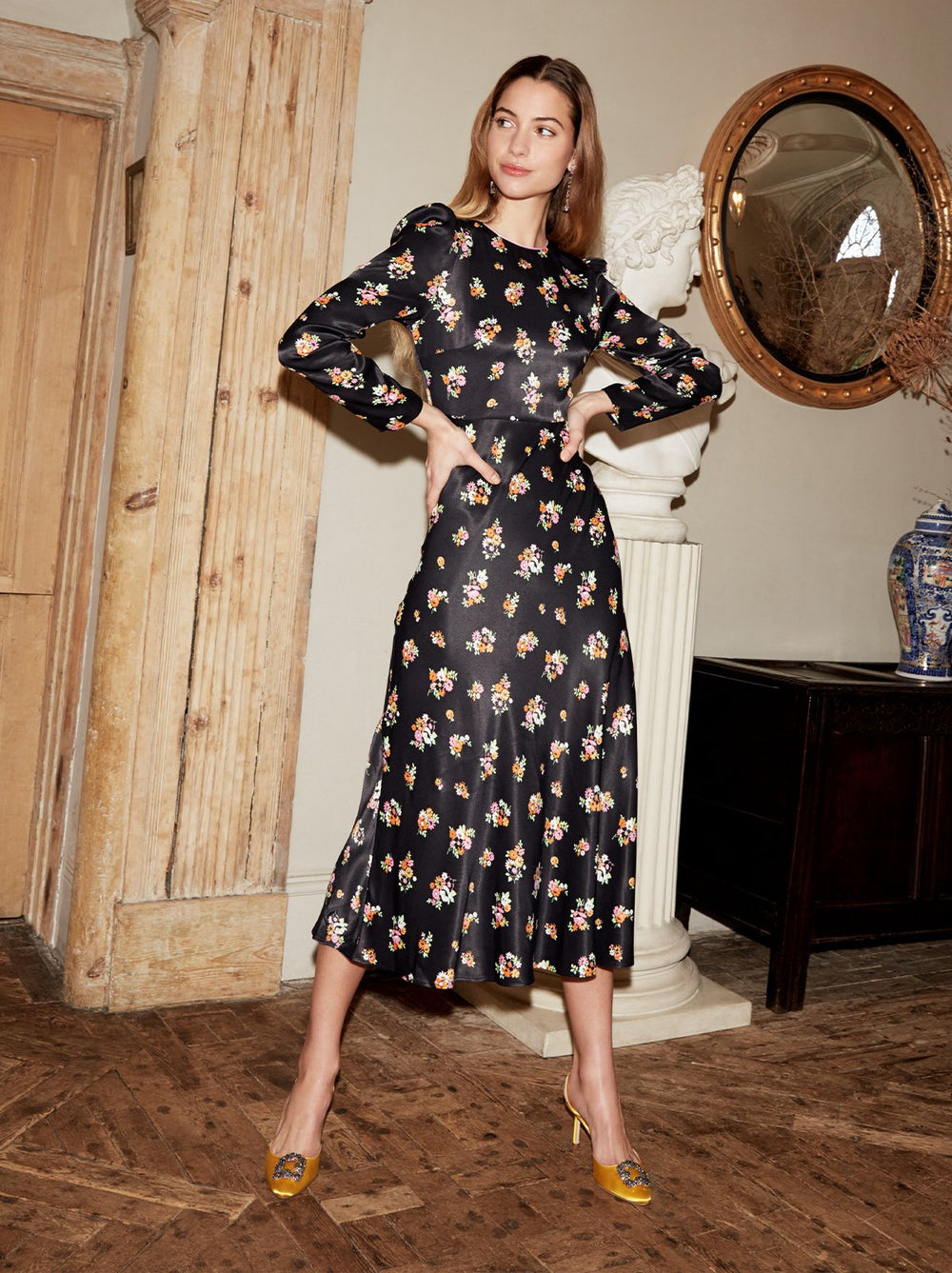 Anna Black Ditsy Print Midi Dress by KITRI Studio