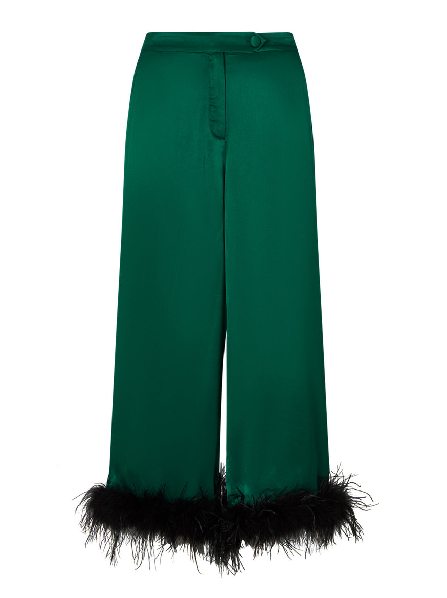 Apollo Emerald Satin Feather Trousers  by KITRI Studio