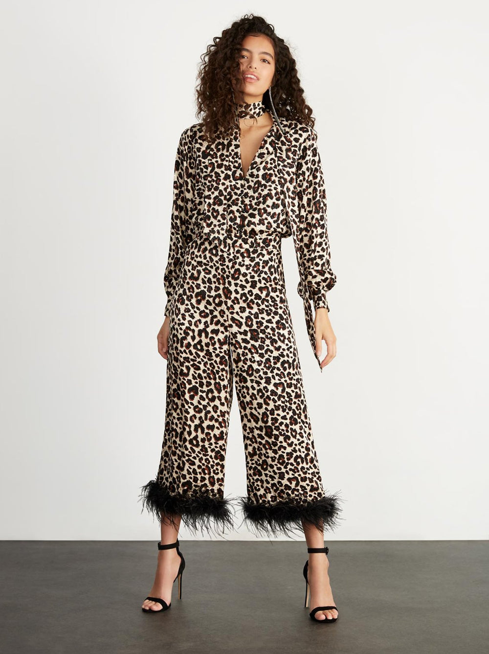 Apollo Leopard Print Feather Trousers by KITRI Studio