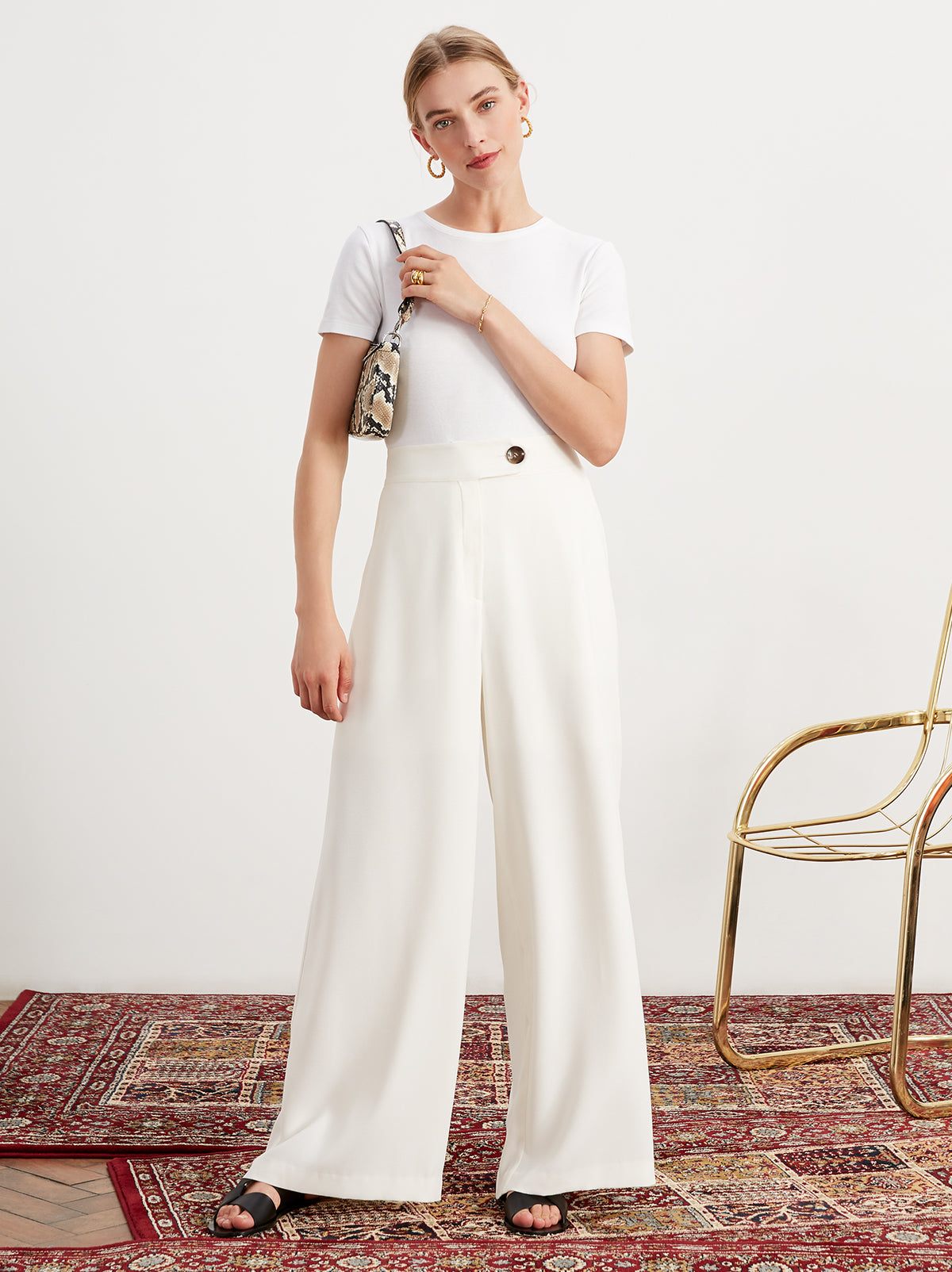 Aretha Ivory Wide Leg Tailored Trousers by KITRI Studio