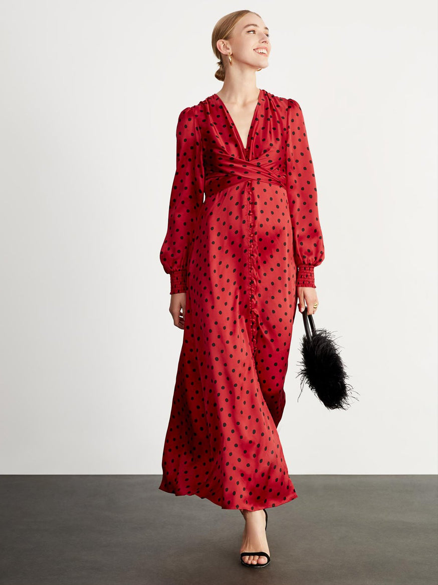 Aurora Red Polka Dot Maxi Dress by KITRI Studio