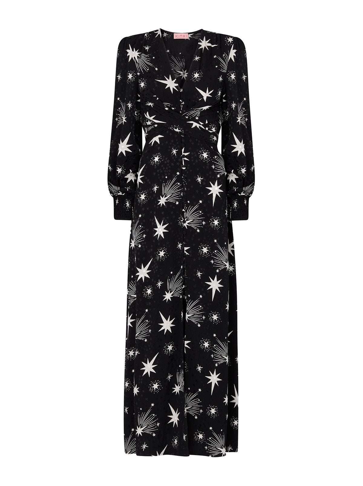 Aurora Black Star Print Maxi Dress by KITRI Studio