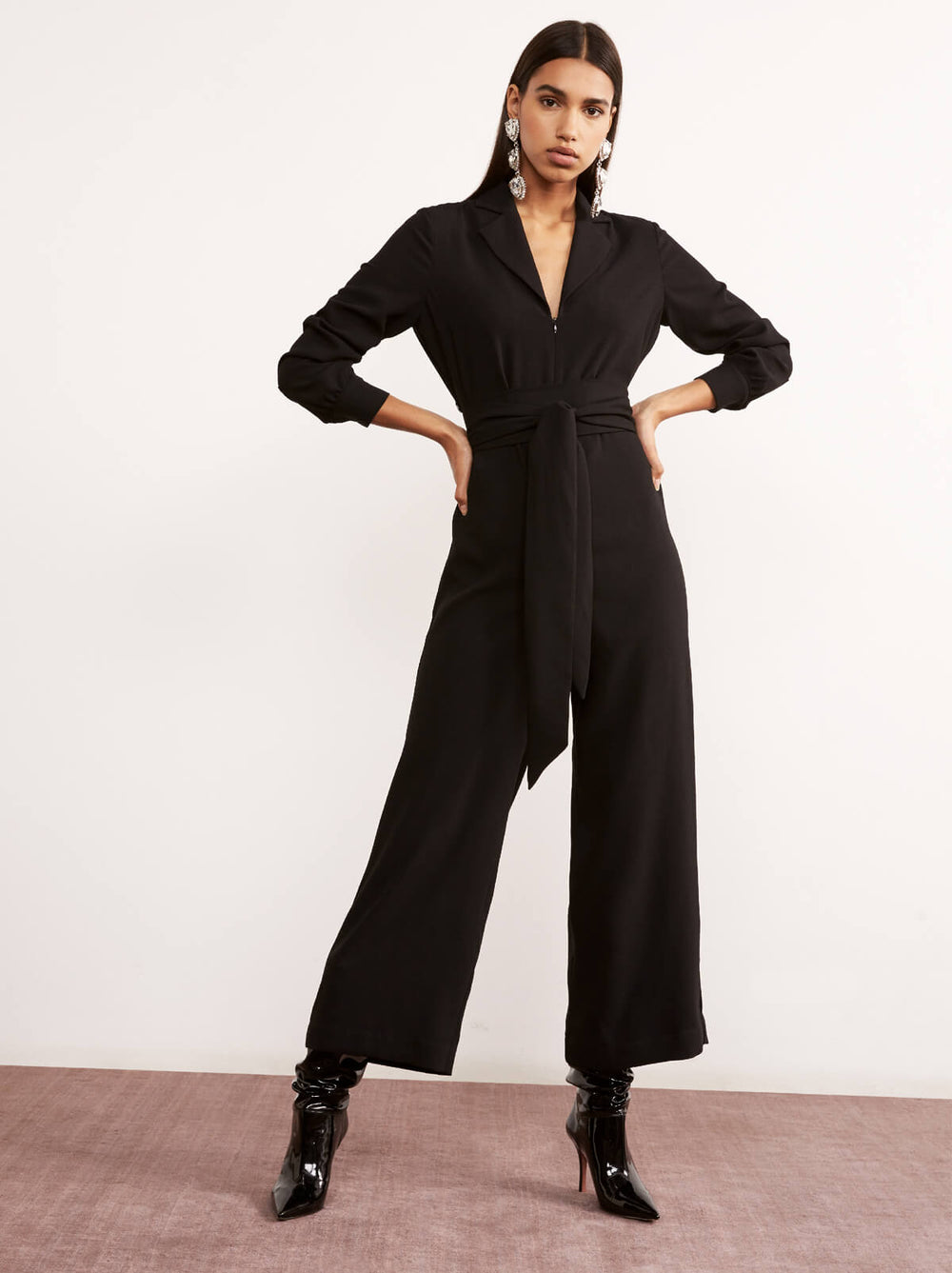 Avril Black Wide Leg Jumpsuit by KITRI Studio