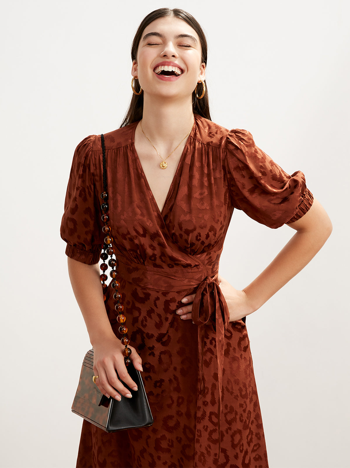 Ayesha Animal Print Wrap Dress by KITRI Studio