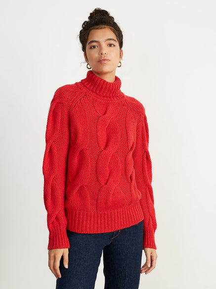Belle Red Wool Cable Knit Jumper by KITRI Studio