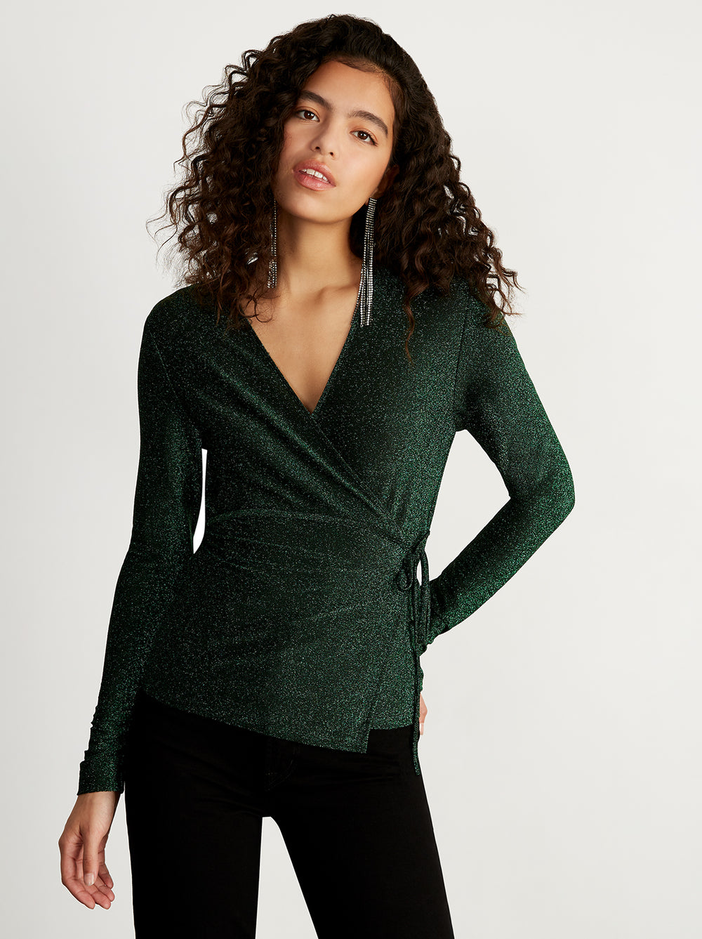Bernice Green Metallic Wrap Top