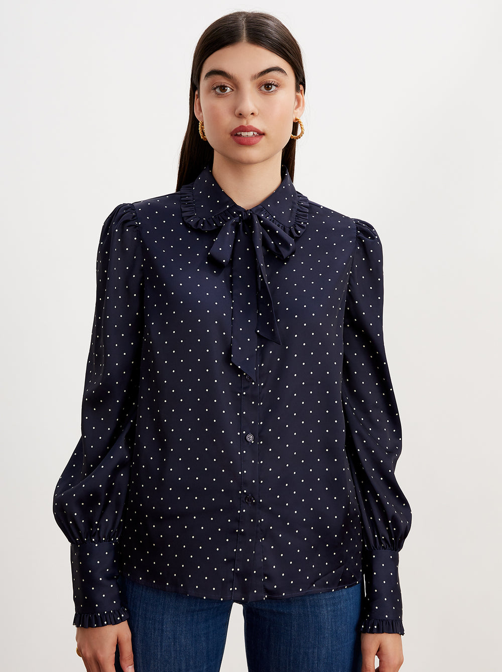 Bessie Navy Pussy Bow Blouse