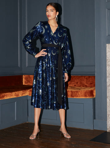 Bianca Blue Sequin Wrap Midi Dress by KITRI Studio