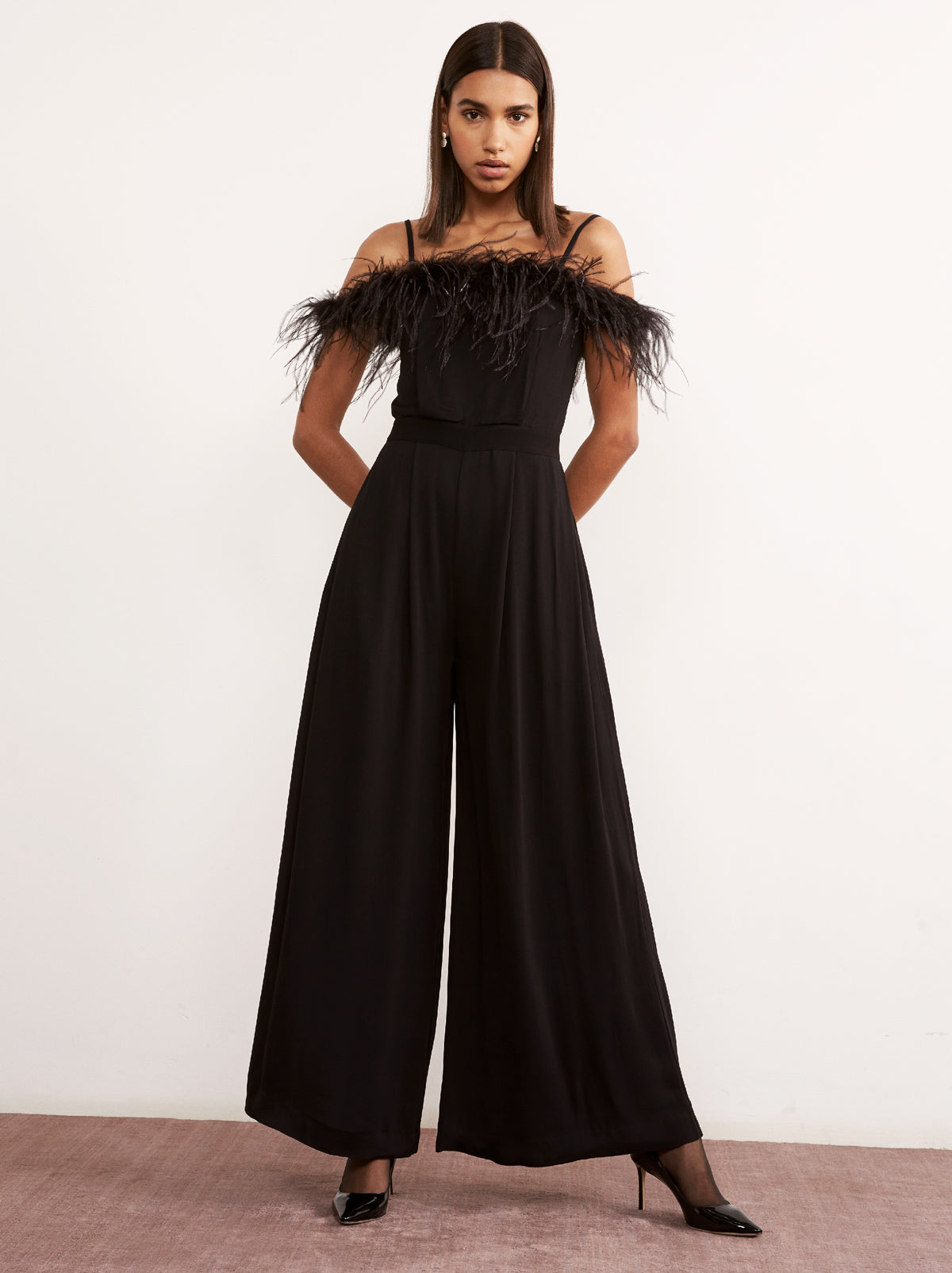 Bianca Feather Women's Wide Leg Jumpsuit by KITRI Studio