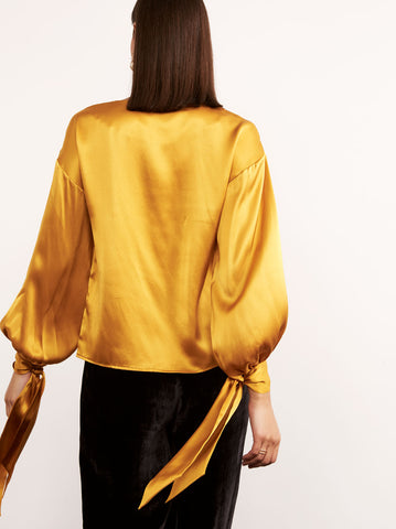 Bizet Mustard Silk Tie Sleeve Blouse by KITRI Studio