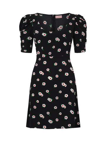 Emily Black Daisy Print Mini Dress