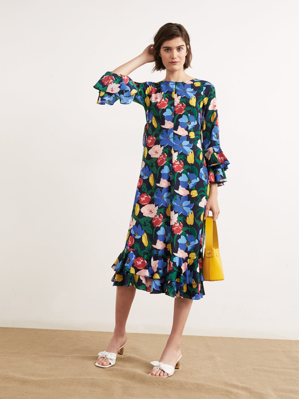 Brianna Floral Print Midi Frill Dress by KITRI Studio