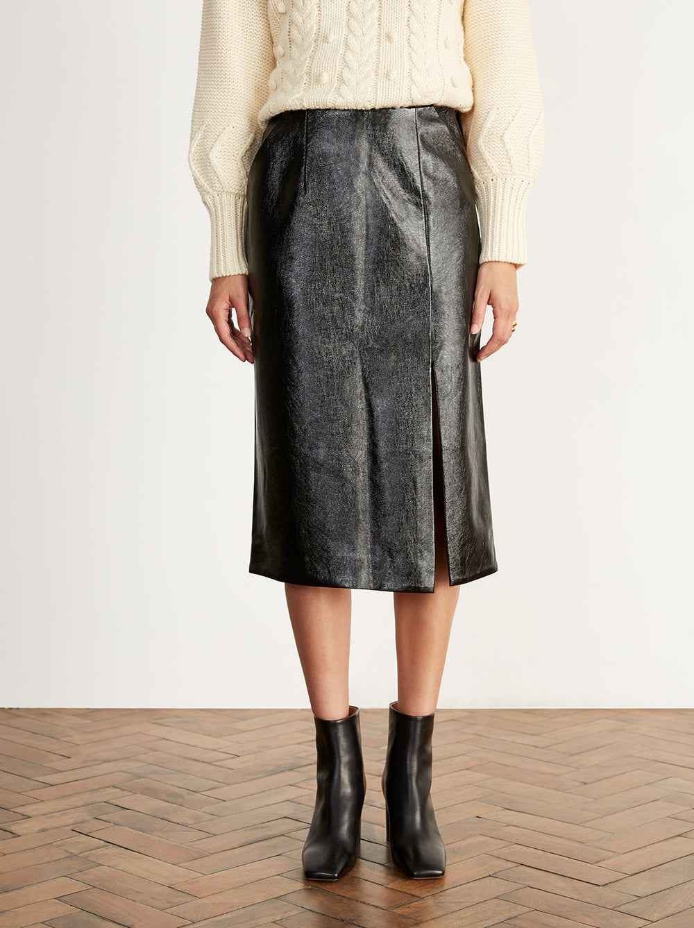 Carine Black Vinyl Skirt by KITRI Studio
