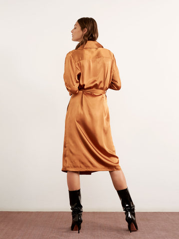 Carla Rust Satin Trench Wrap Dress by KITRI Studio