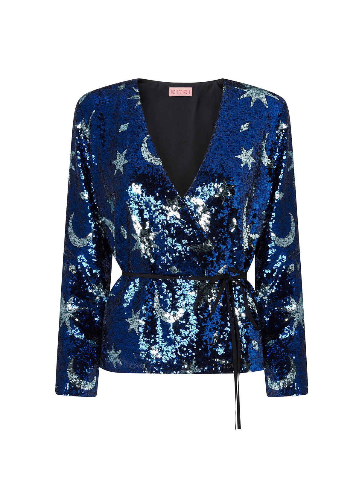 Carmina Blue Sequin Wrap Top